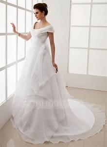 forme princesse epaules nues traine mi longue organza robe With robe de mariée jjshouse
