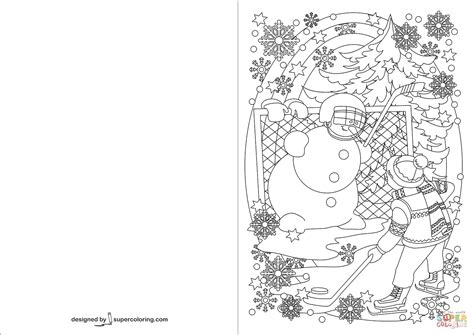 boy hockey with snowman greeting card coloring