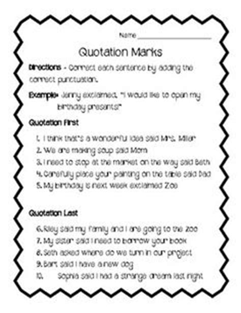 adding quotation marks to dialogue worksheet englishlinx