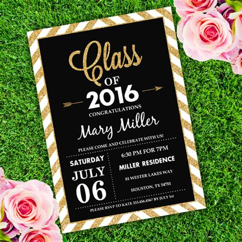 Graduation Invitation Black and Gold Template edit with