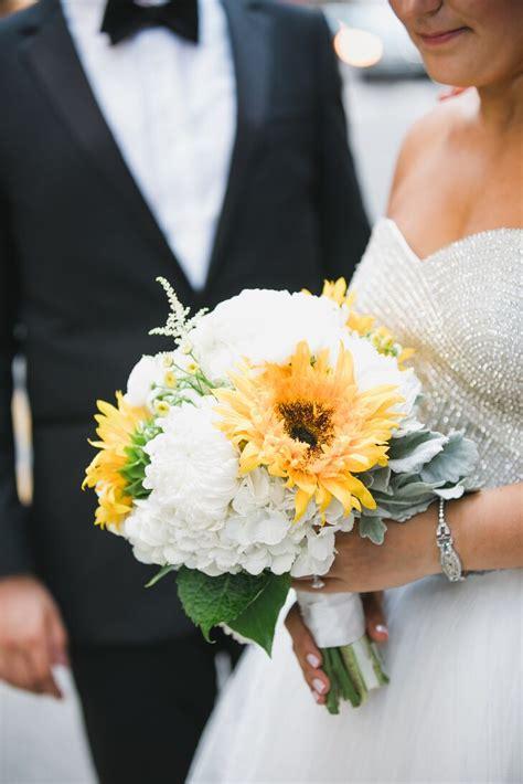 white hydrangea  sunflower bridal bouquet