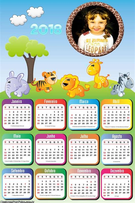 calendario infantil safari baby montagem fotos