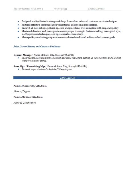 retail store incharge resume store manager resume exle