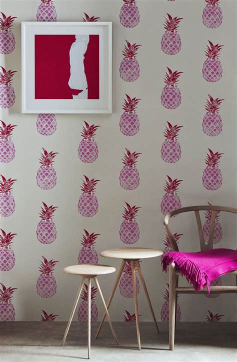 pineapple  barneby gates red pink wallpaper direct