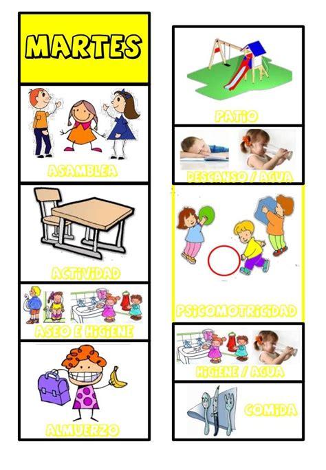 horario  pictogramas horario preescolar actividades