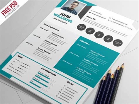 Cool Resume Psd by Free Creative Resume Template Psd Psdfreebies
