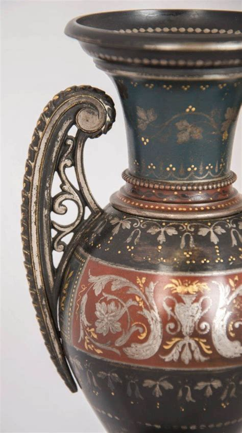 pair  silver  gold inlaid antique brass vases