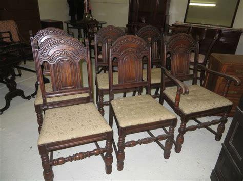 set of 6 antique revival jacobean solid oak