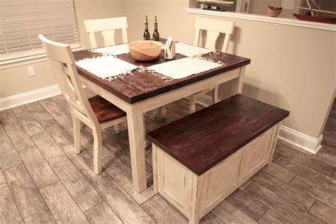 hand  rustic farmhouse table  storage bench  chip