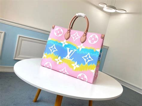 louis vuitton monogram giant canvas lv escale onthego gm tote bag  pastel pink