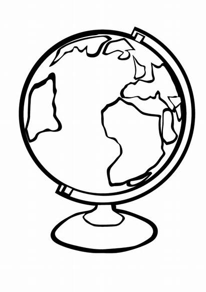 Globe Coloring Pages Clipart Earth Printable Template