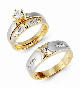 14k solid white yellow gold xo cz wedding rings trio With white gold and gold wedding rings