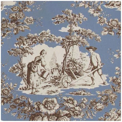 Tissu Toile De Jouy Courtisane Brun Fond Bleu X 10cm Ma