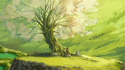 Tree Anime Wallpaper - sad sit tree anime scenery wallpaper chainimage