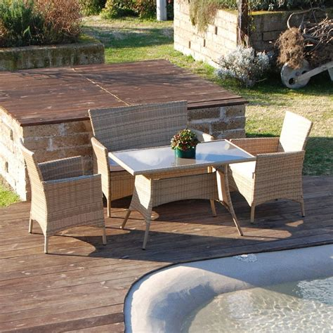 poltrone d arredo set salottino polyrattan color naturale divano poltrone