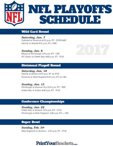 nfl playoff bracket printable playoff schedule