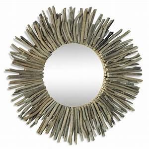 Miroir Bois Flotté : grand miroir soleil en bois flotte majdeltier boutique en ligne ~ Teatrodelosmanantiales.com Idées de Décoration