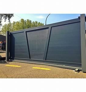 Portail En Aluminium : mon portail alu coulissant forme v t le alu perfor e ~ Melissatoandfro.com Idées de Décoration