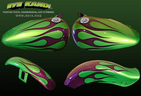 green pearl with purple pearl black edged flames