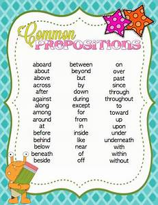 Printable Preposition List
