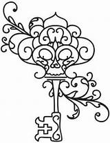 Key Skeleton Coloring Keys Pages Embroidery Outline Drawing Tattoos Designs Adult Giant Tattoo Colouring Steampunk Urbanthreads Lock Drawings Animal Heart sketch template