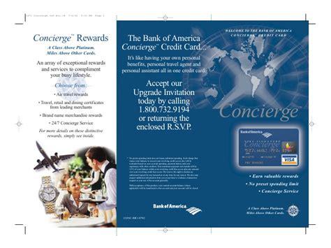American secured credit card cons. Bank Of America Concierge Card Package Brochure