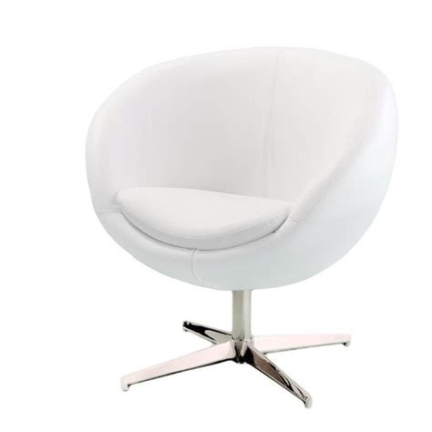 bowery hill leather egg chair in white ebay