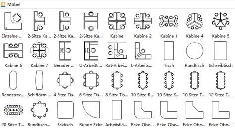 moebel symbole fuer zeichnungen der gebaeudeplaene