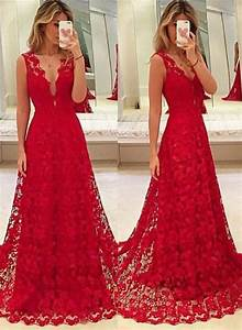 A-Line Red V-Neck Lace 2017 Prom Dresses Latest Sweep ...
