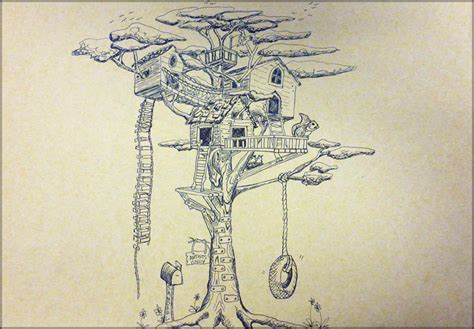 Treehouse In 2point Perspective  Julia Sanderl