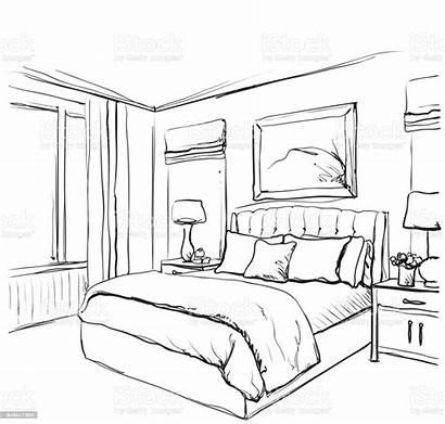 Bedroom Drawing Sketch Bed Furniture Interior Drawn