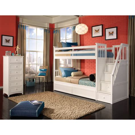 Home Decor Furniture Bedroom White Twin Over Full Bunk Bed