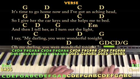 Wonderful Tonight (eric Clapton) Easy Piano Cover Lesson With Lyrics/chords