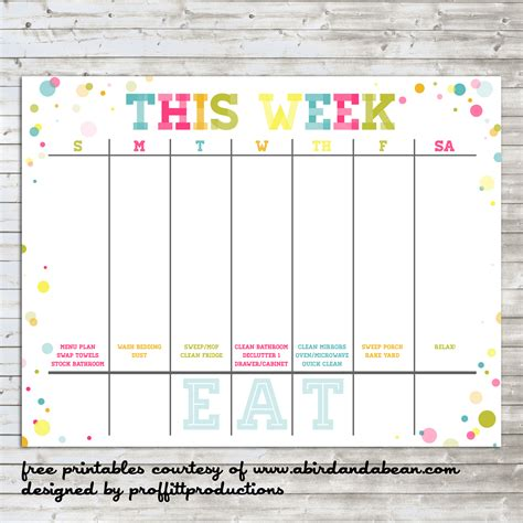 colorful weekly calendar  printable