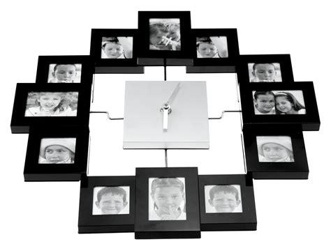 Modern Multi Family Photo Frame Wall Clock Black E28