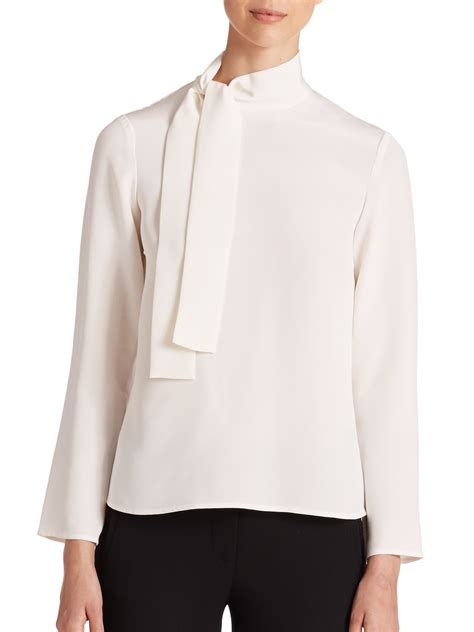 white blouse with bow lyst goat louisa silk bow blouse in white