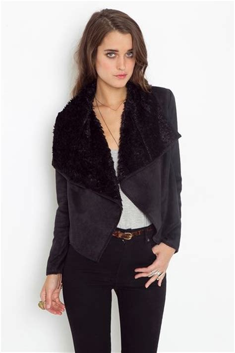 shearling drape coat gal shearling drape jacket black in black lyst