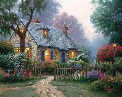 Cottage Foxglove Kinkade Thomas Artist Paintings Cottages