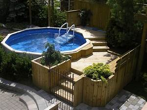 Piscine Hors Sol Couverte : above ground pool in harmony with the backyard by les embellissements paysagers laval ~ Voncanada.com Idées de Décoration