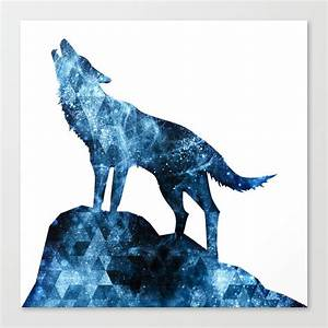 188 Northern Lights Howling Wolf Blue Sparkly Smoke Silhouette Canvas Print By