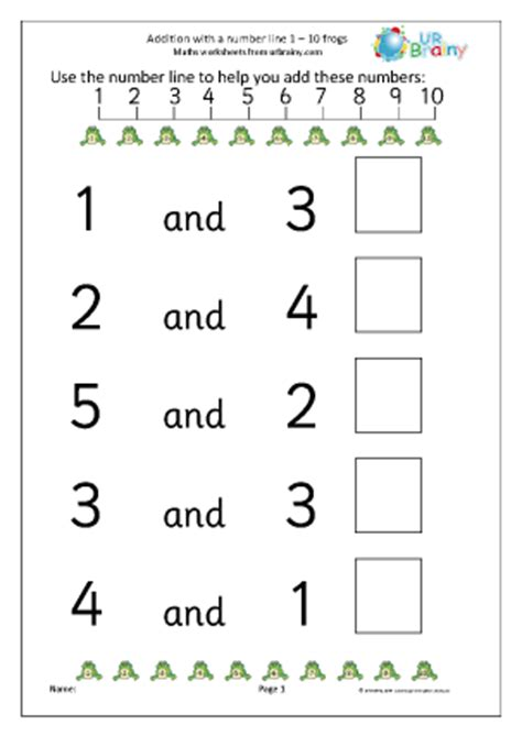adding with a number line frogs addition maths worksheets for later reception age 4 5