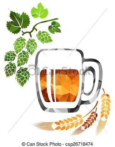 foto de Isolato stilizzato fondo birra luppolo bianco