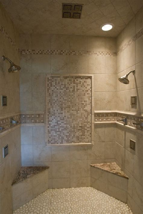 cool seating ideas for your walk in walk in tile shower with tile accents a pebble floor two 10