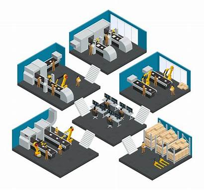 Factory Isometric Electronics Vector Composition Multistory Illustration