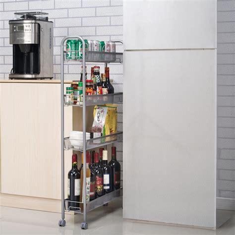 slimline kitchen storage 4 tier gap kitchen slim slide out storage tower rack with 2325