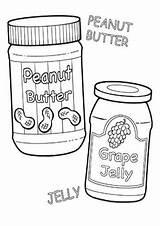 Coloring Jelly Peanut Butter Cartoon Jar Grape Sandwich Jars Printable sketch template