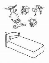 Monkeys Bed Coloring Jumping Five Printable Monkey Cama Drawing Macaquinhos Saltando Lit Crayons Transparent Disegni Preschool Coloriages Colorir Desenho Objets sketch template