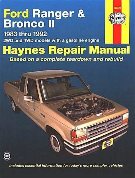 car manuals free online 1989 ford ranger electronic throttle control ford ranger bronco ii petrol 1983 1992 haynes owners