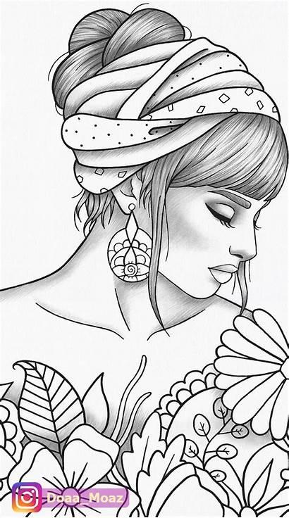 Coloring Adult Printable Portrait Zentangle Colouring Pdf