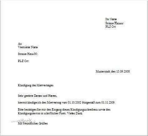 kündigung eines mietvertrages vorlage briefvorlage zum k 252 ndigen eines mietvertrages